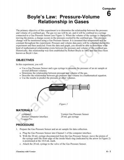 an experiment determining the relationship between the pressure and the volume of a confined gas In one experiment you do, you will be asked to determine the relationship between the volume of a confined gas and the pressure it exerts part b a very important method for determining mathematical relationships in laboratory science makes use of graphical methods.
