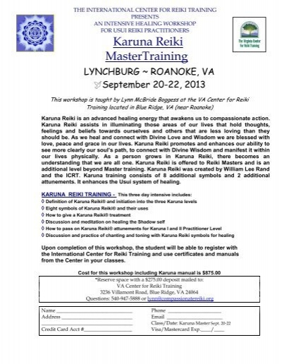 Karuna Reiki Mastertraining Virginia Center For Reiki Training