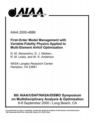8th AIAA/USAF/NASA/ISSMO Symposium on Multidisciplinary
