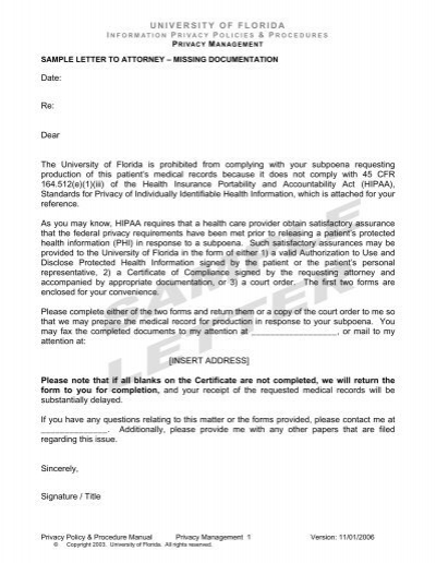 Sample Letters to Attorneys - UF Privacy Office - University