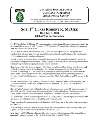 SFC Robert K  McGee - U S  Army Special Operations Command