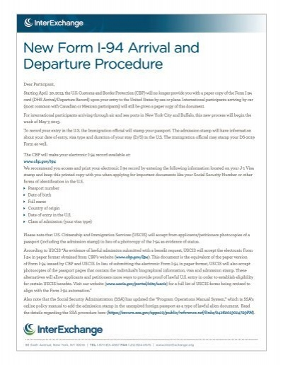 new form i-94 arrival and departure procedure - interexchange