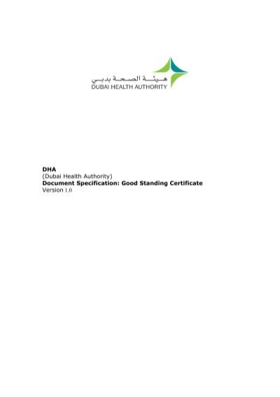 Good Standing Certificate - Dubai Health Authority