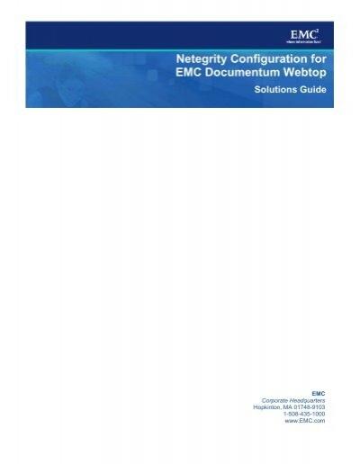 Netegrity Configuration for EMC Documentum Webtop Solutions