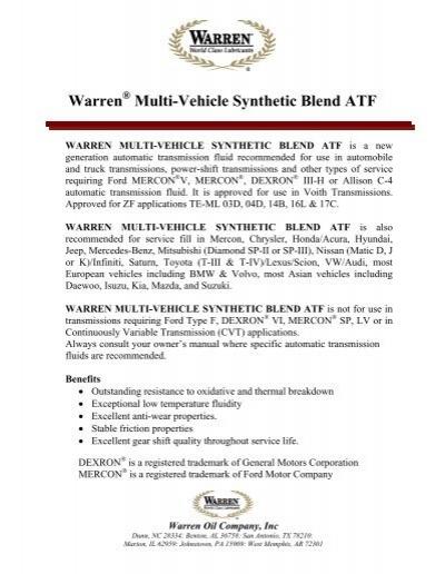 Warren Multi-Vehicle Synthetic Blend ATF - Warren Oil