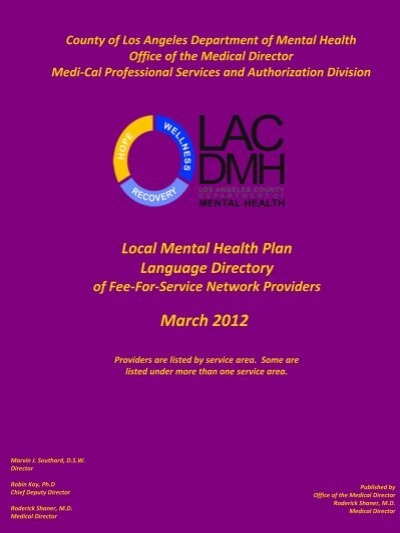 March 2012 La County Department Of Mental Health