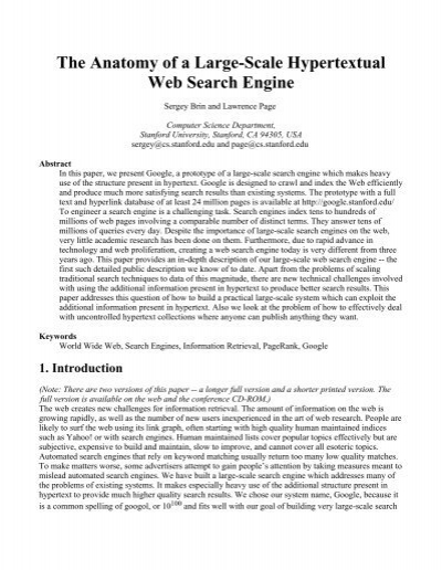 Anatomy of a large scale search engine