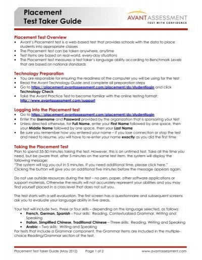 Placement Test Taker Guide - Avant Assessment