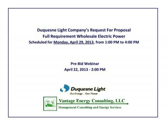 Duquesne Light Company   Vantage Energy Consulting, LLC