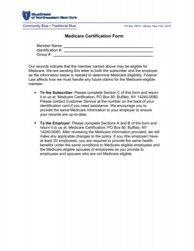 Medicare Certification Form - Blue Shield of Northeastern New York