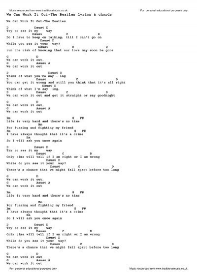 We Can Work It Out-The Beatles lyrics & chords - Traditional Music ...