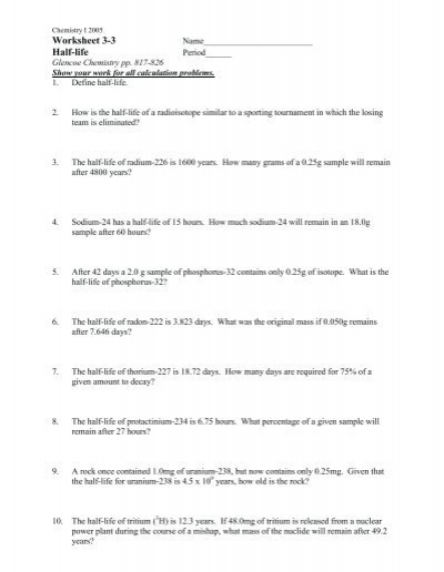 Worksheets Half Life Calculations Worksheet worksheet 3 half life fulton county schools