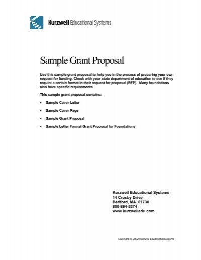 Sample Grant Proposal Kurzweil Educational Systems
