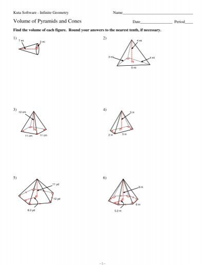 10 Volume Of Pyramids And Cones Kuta Software