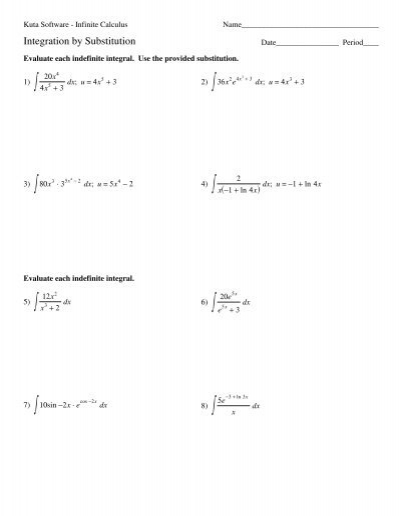 Substitution With Logarithms And Exponentials Kuta Software