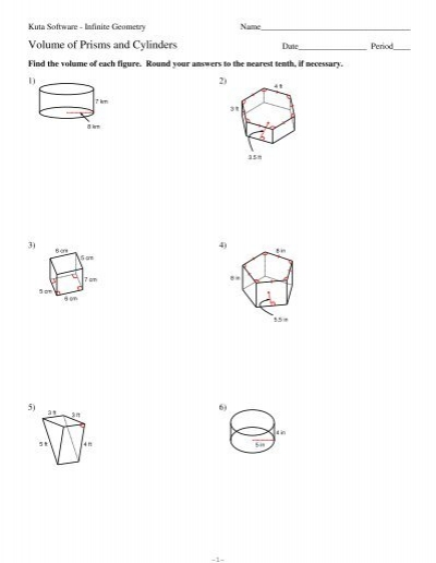 Volume Of Cylinder Worksheets Kuta: 10 Volume of Prisms and Cylinders   Kuta Software,