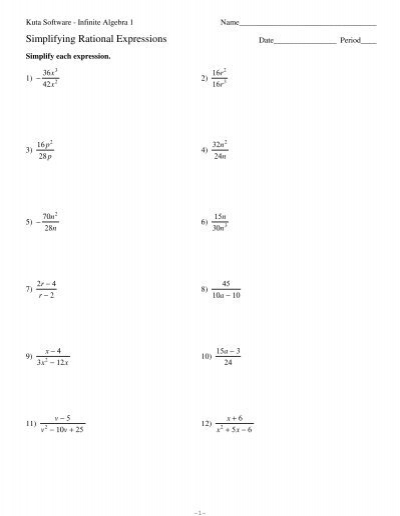 All Worksheets » Multiplication Of Rational Algebraic Expressions ...