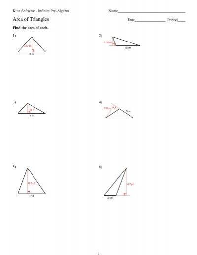 area of triangles kuta software. Black Bedroom Furniture Sets. Home Design Ideas