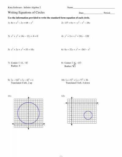 Equations of Circles Worksheet - Kuta Software