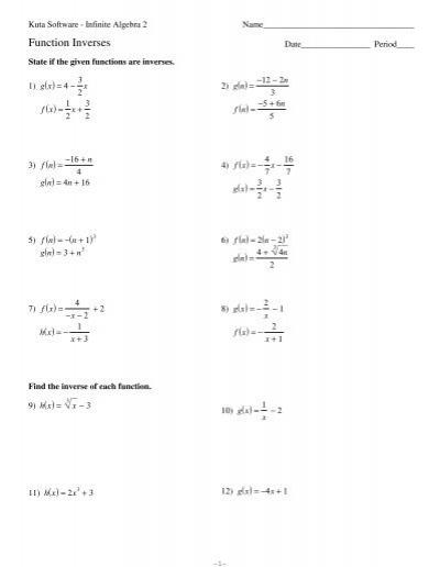 Function Inverses.pdf - Kuta Software