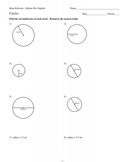 area and circumference of circles kuta software. Black Bedroom Furniture Sets. Home Design Ideas