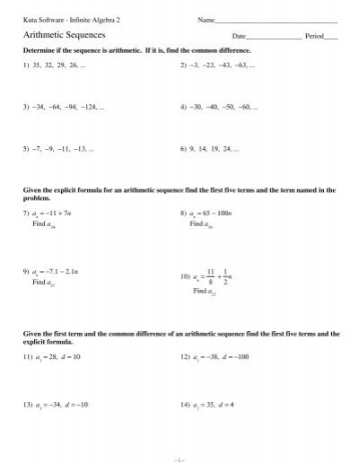 Printables Arithmetic And Geometric Sequences Worksheet comparing arithmetic and geometric sequences kuta software software