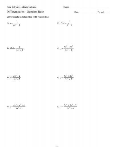 03 Quotient Rule Kuta Software