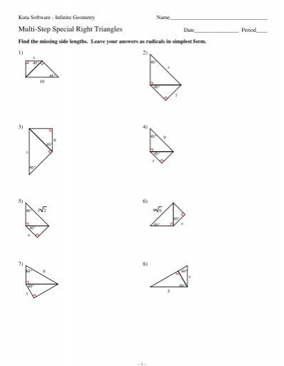 8 Multi Step Special Right Triangles Kuta Software