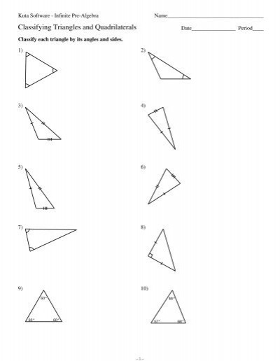 Classifying Triangles And Quadrilaterals Kuta Software