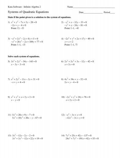 Equations Of Circles Worksheet Kuta Software
