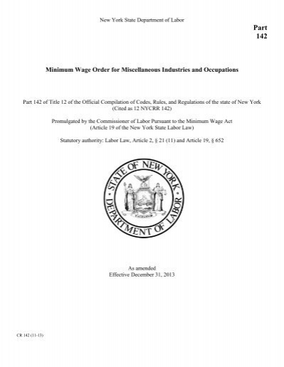 Cited as 12 NYCRR 142 - New York State Department of Labor