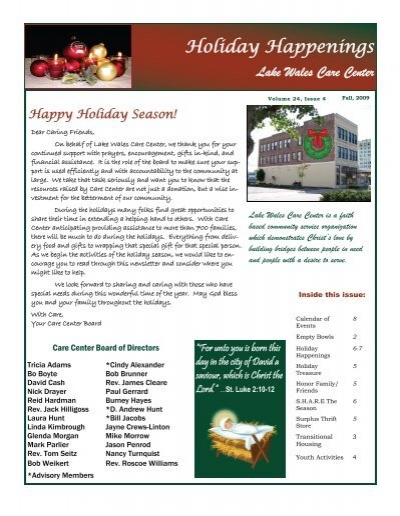 Lake Wales Care Center >> Newsletter Holiday 2009 Lake Wales Care Center