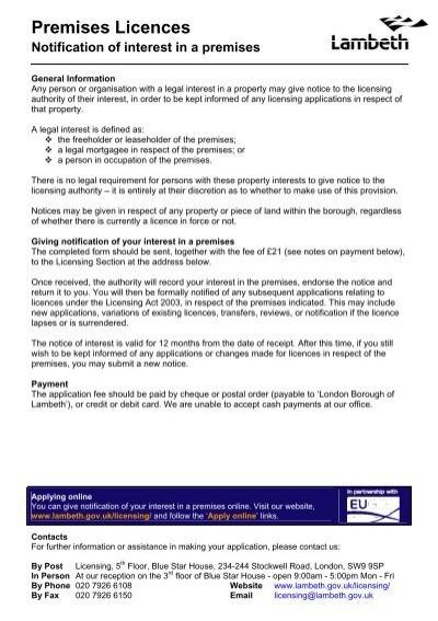 Premises Licences - notification of interest in a premises