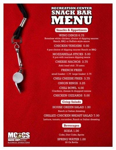 Recreation center snack bar menu snacks appetizers for Snack bar menu