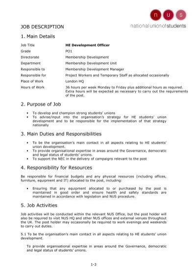JOB DESCRIPTION 1  Main Details 2  Purpose of Job 3  Main