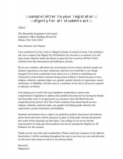 sample letter to your legislator dignity for all students act