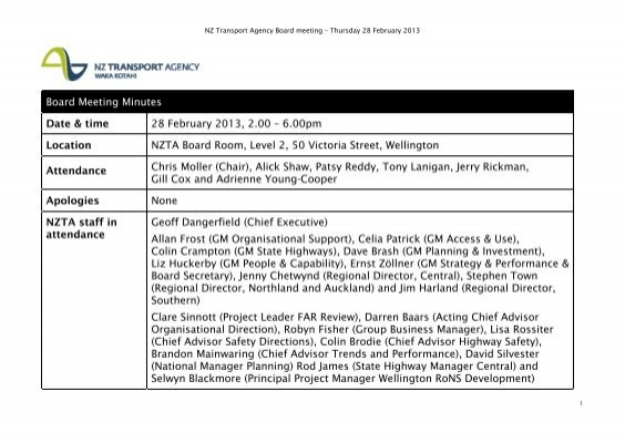 Board Meeting Minutes Date & time 28 February 2013, 2 00