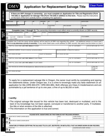 Application for Replacement Salvage Title