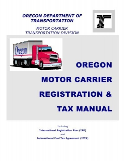 Oregon Motor Carrier Registration Tax Manual Oregon