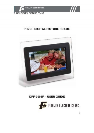 7 Inch Digital Picture Frame Dpf 7005f Fidelity Electronics
