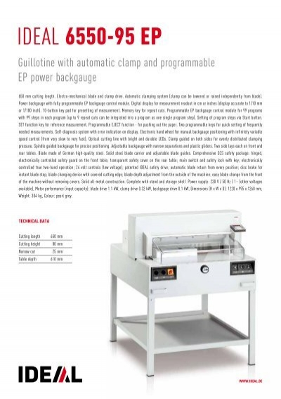 guillotine ideal 6550 95 ep officeplus rh yumpu com Sovtek 6550 Tubes ideal 6550-95 ep service manual