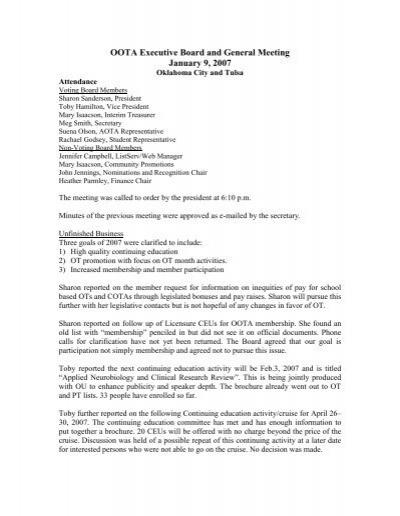 OOTA Executive Board and General Meeting Agenda