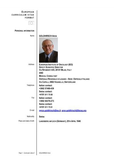 A  Goldhirsch CV European Format