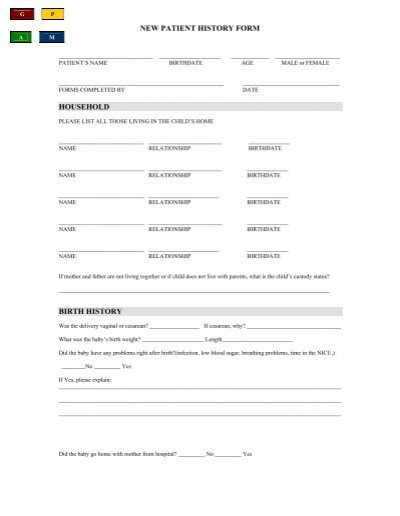 new patient history form household birth history