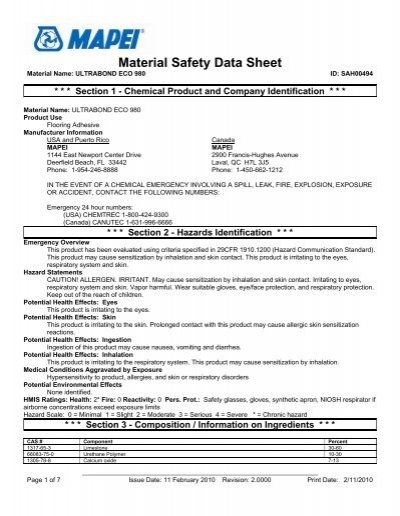 Material Safety Data Shee