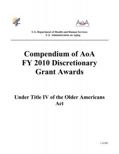 Compendium Of Aoa Fy 2010 Discretionary Grant Awards