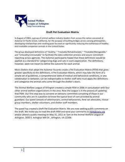 Draft Pet Evaluation Matrix Animal Welfare League Of Arlington
