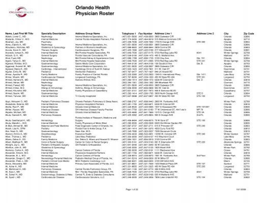 Orlando Health Physician Roster
