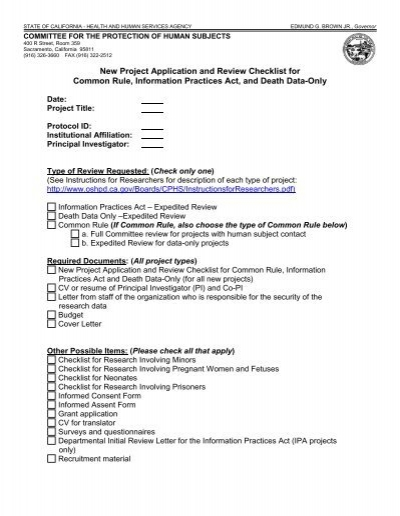 New Project Application and Review Checklist ... - State of ...