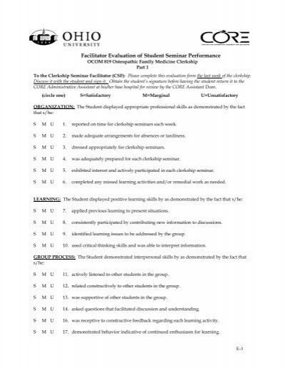STUDENT SEMINAR EVALUATION FORM – Seminar Evaluation Form